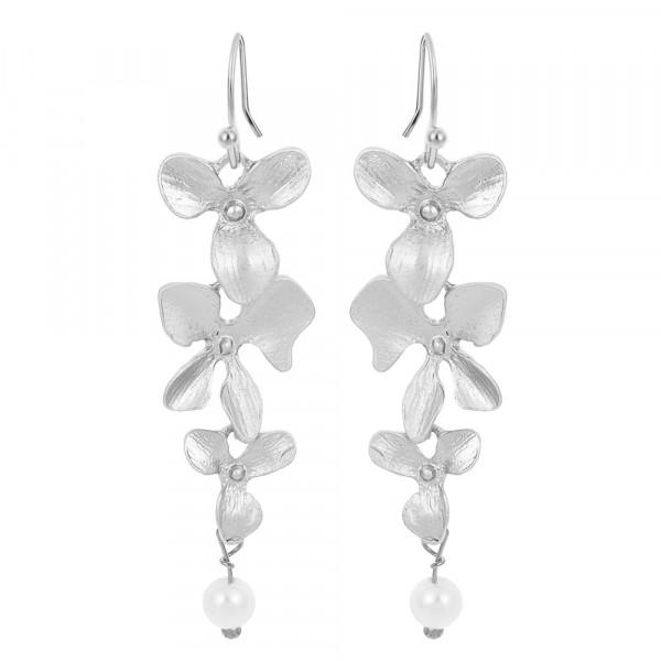 Ohrringe Silber mit Blume und Perle