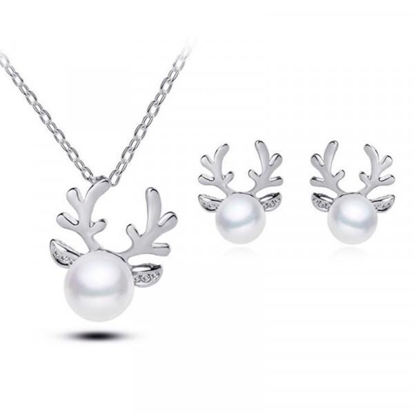 Kette Rentier mit Perle - Silber