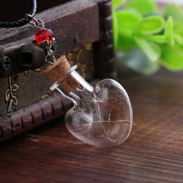 Leder Kette Pusteblume in Herz Glaskugel - Rot