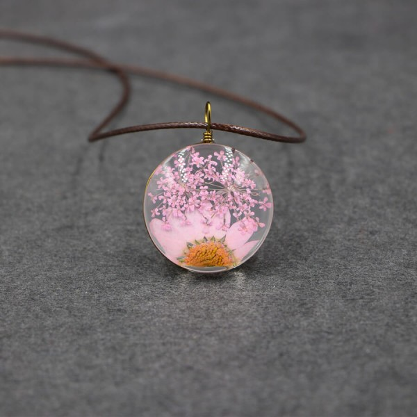 Leder Kette echte Blume in flacher Glaskugel - Rosa