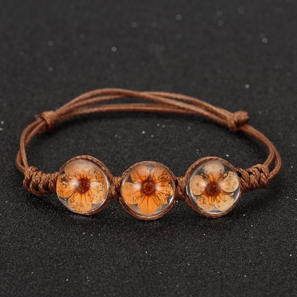 Armband braun, 3 echte Kirschblüten - Orange