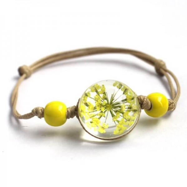 Armband echte Blüte - Gelb