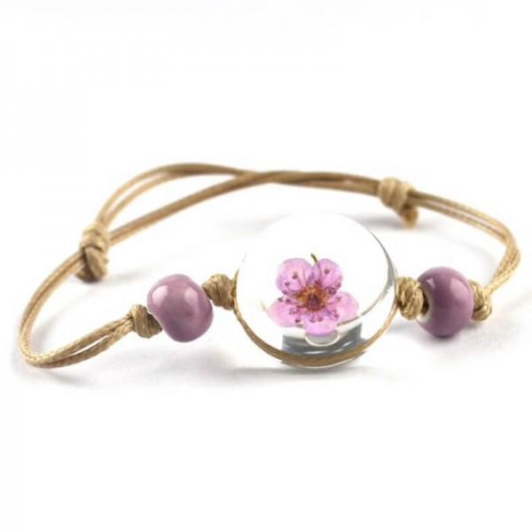 Armband beige echte Kirschblüte - Lila