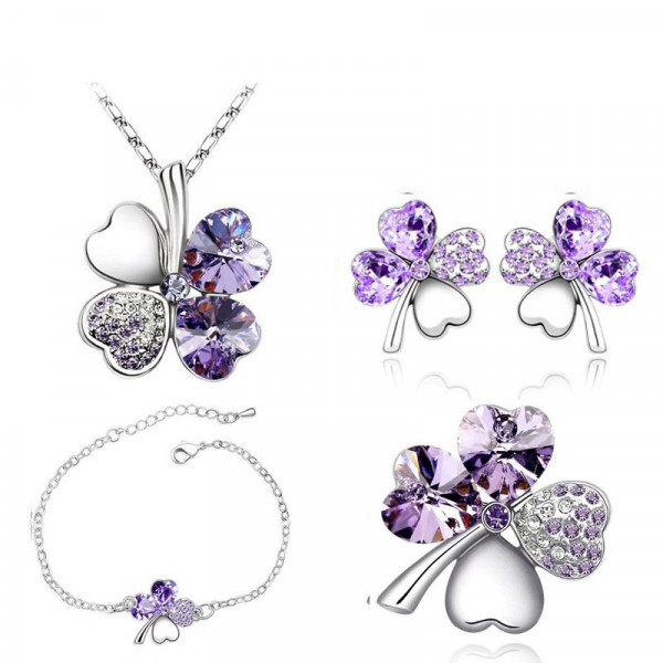 Silber Kette Glitzer Blume - lila