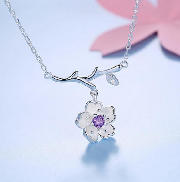 Silber Kette Kirschblüte Zweig - Lila