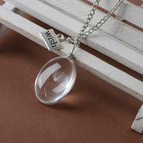 Silber Kette echte Pusteblume - wish - Oval