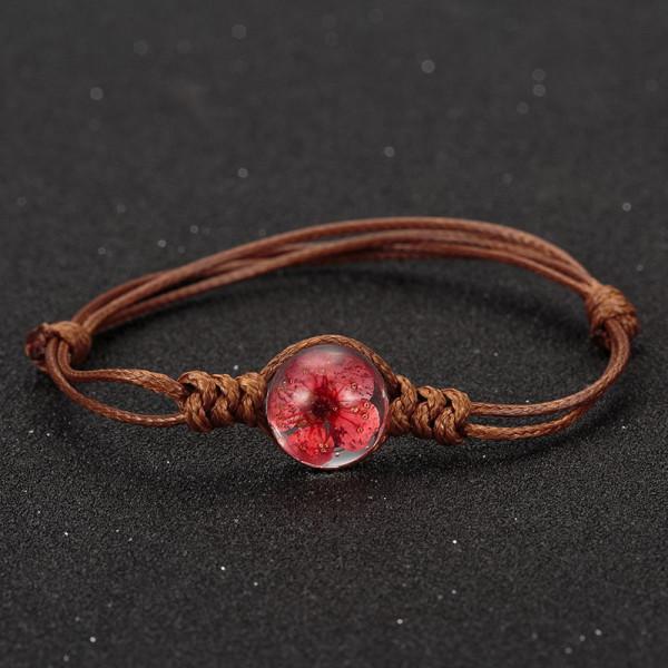 Armband braun, echte Kirschblüte - Rot