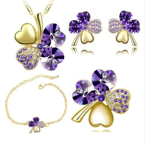 Brosche Gold Glitzer Blume - lila