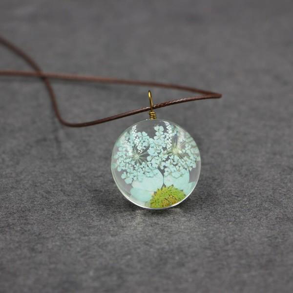 Leder Kette echte Blume in flacher Glaskugel - Türkis