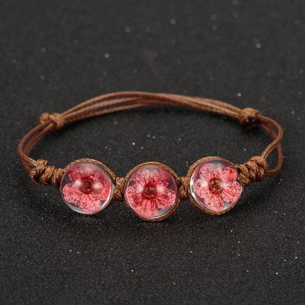 Armband braun, 3 echte Kirschblüten - Rot
