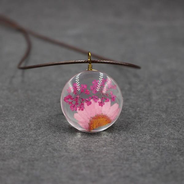 Leder Kette echte Blume in flacher Glaskugel - Pink