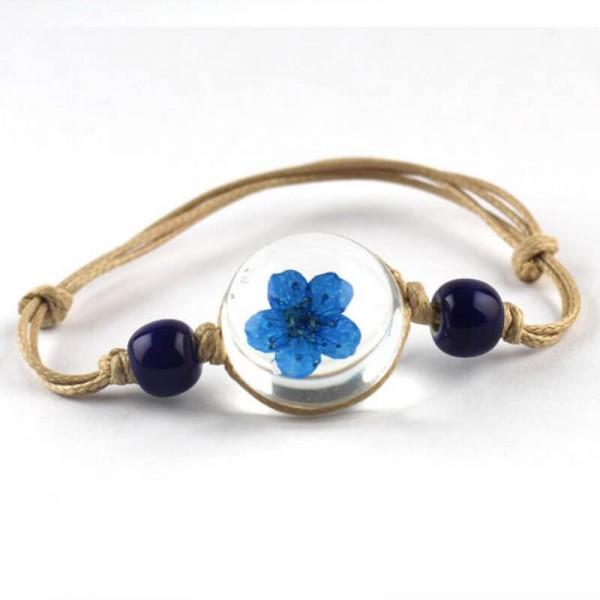 Armband beige echte Kirschblüte - Blau