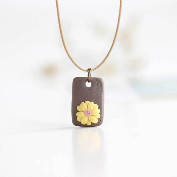 Leder Kette Blume auf Stein - Gelb