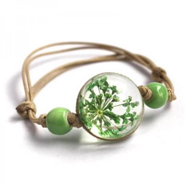 Armband echte Blüte - Grün