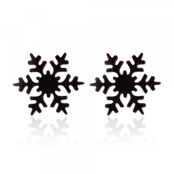 Ohrstecker Schneeflocke minimalistisch - Schwarz