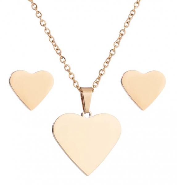 Set Halskette & Ohrstecker Herz - Gold