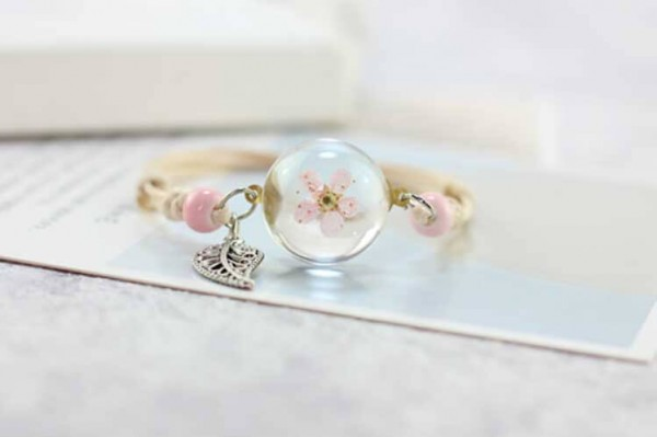 Armband getrocknete Kirschblüte mit Blatt - Rosa