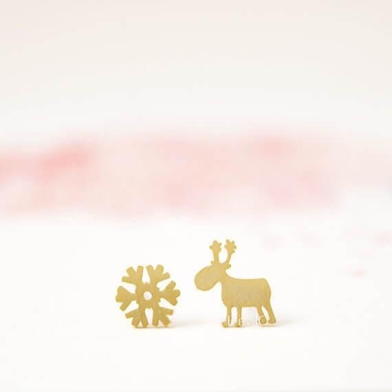 Ohrstecker Schneeflocke & Rentier - Gold