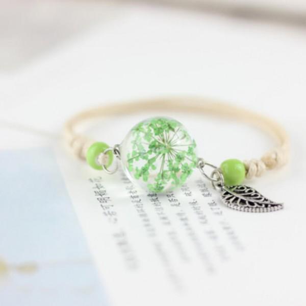 Armband getrocknete Blüte mit Blatt - Grün