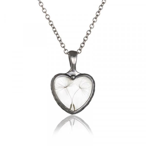Halskette echte Pusteblumen - Herz