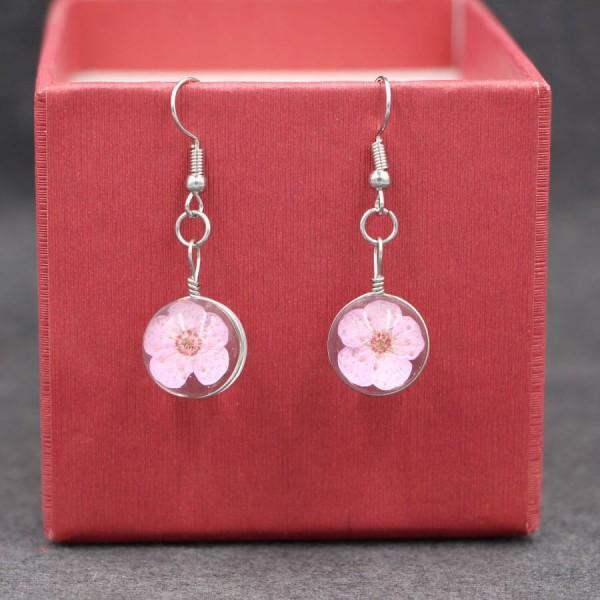 Ohrringe echte Kirschblüte in Glaskugel