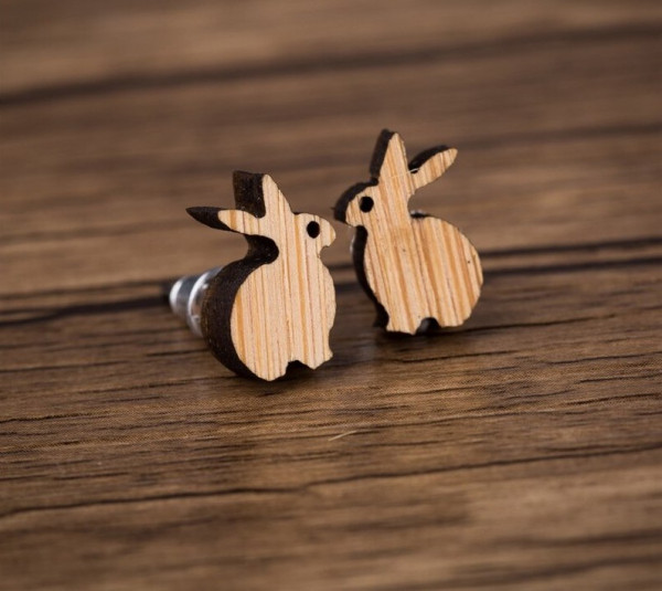 Ohrstecker aus Holz - Hase