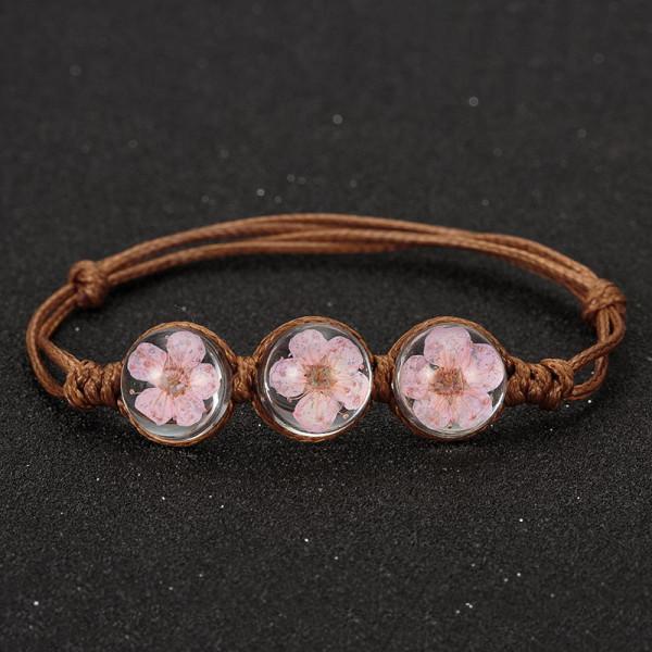 Armband braun, 3 echte Kirschblüten - Rosa