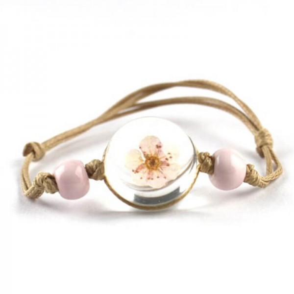 Armband beige echte Kirschblüte - Rosa