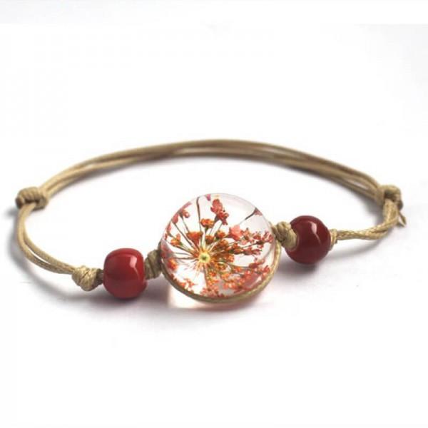 Armband echte Blüte - Rot