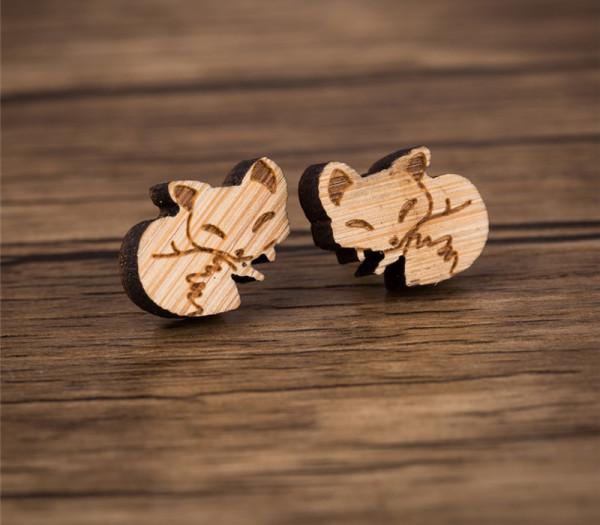 Ohrstecker aus Holz - Füchse