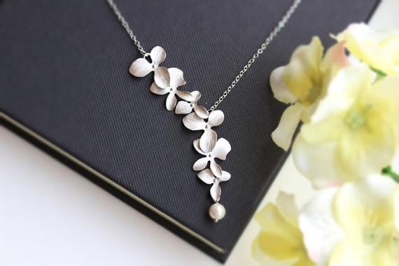 Silber Kette mit Blume und Perle