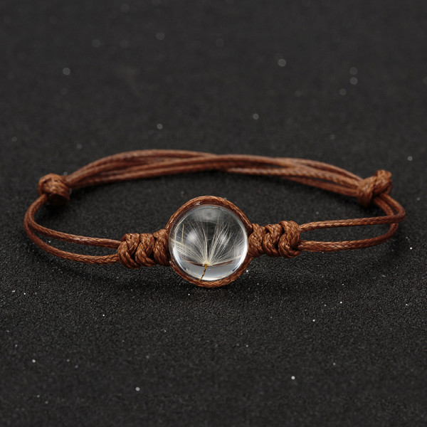 Armband echte Pusteblume - braun