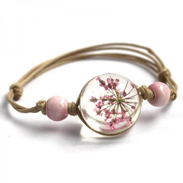 Armband echte Blüte - Rosa