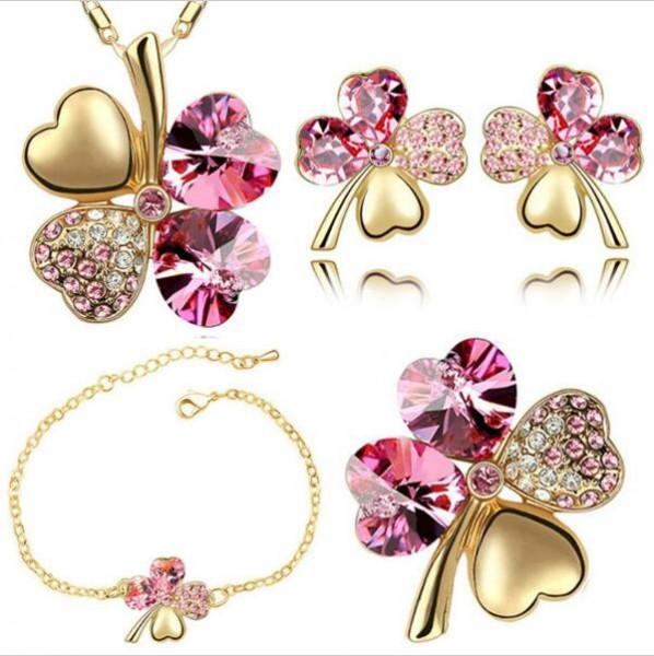 Gold Kette Glitzer Blume - rosa