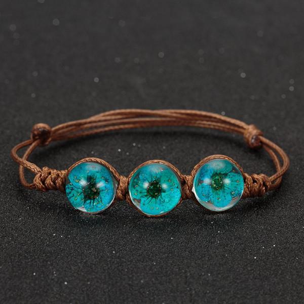 Armband braun, 3 echte Kirschblüten - Blau
