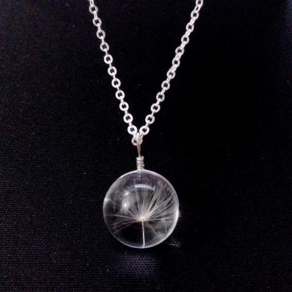 Silber Kette echte Pusteblume in Glaskugel
