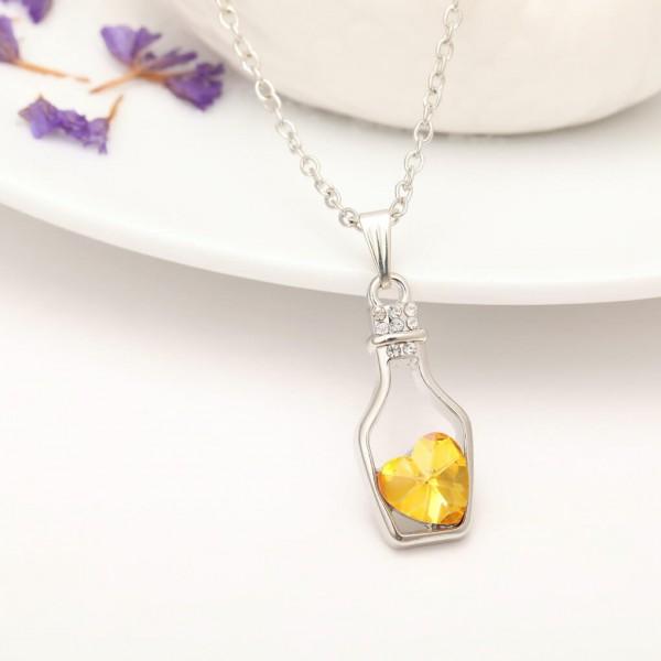 Silber Kette Herz in Flasche - Gelb