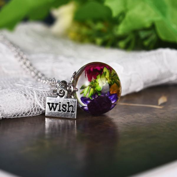 Silber Kette echte Blume in runder Glaskugel - wish - bunt
