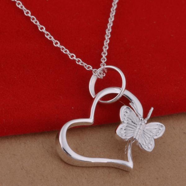 Silber Kette Herz mit Schmetterling