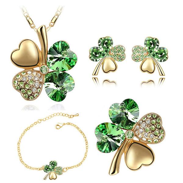 Gold Kette Glitzer Blume - grün