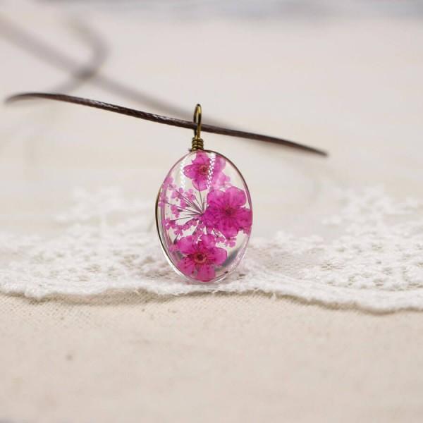 Leder Kette Kirschblüte in Glaskugel - oval - Pink
