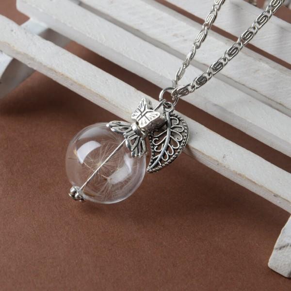 Silber Kette Pusteblume in Glaskugel - Blatt & Schmetterling