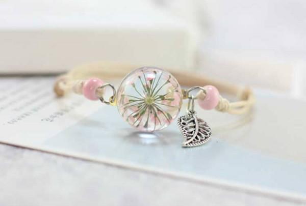 Armband getrocknete Blüte mit Blatt - Rosa