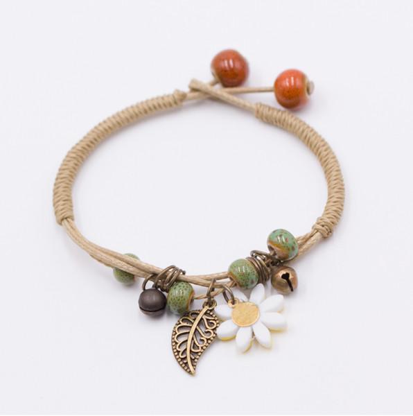 Armband Blume & Feder - Weiss