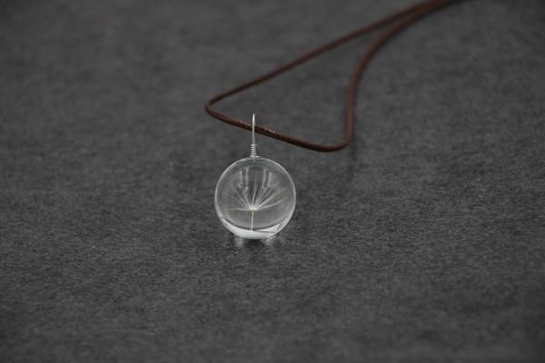 Leder Kette Pusteblume in Glaskugel - 1-fach