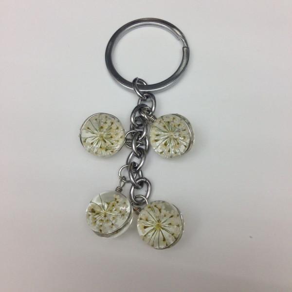 Schlüsselanhänger Blume in Glaskugel - Weiss