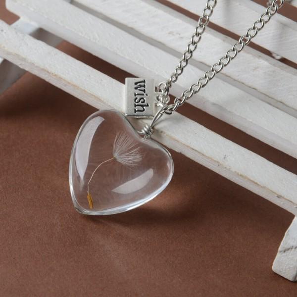 Silber Kette echte Pusteblume - wish - Herz