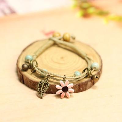 Armband Blume & Feder - Rosa