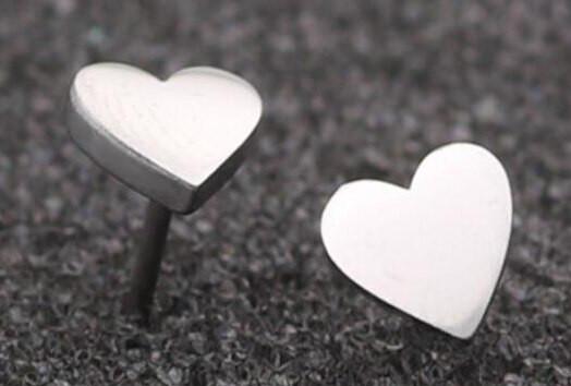 Ohrstecker Herz minimalistisch - Silber