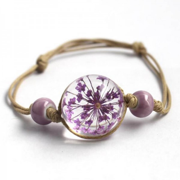 Armband echte Blüte - Lila